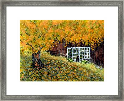Barn Window Reflections Framed Print by Janine Riley