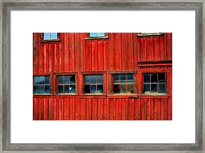 Barn Windows Framed Print by Mamie Gunning