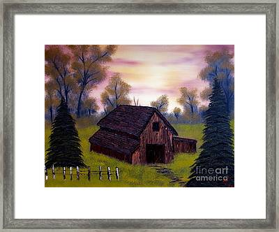 Barn With An Evening Sky Framed Print by Nature's Effects - Heather Seward