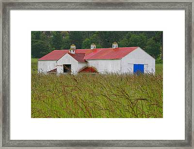 Barn With Blue Door Framed Print by Art Block Collections