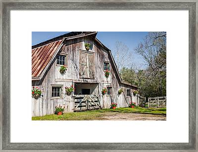 Barn With Flowers Framed Print by Terry Ellis