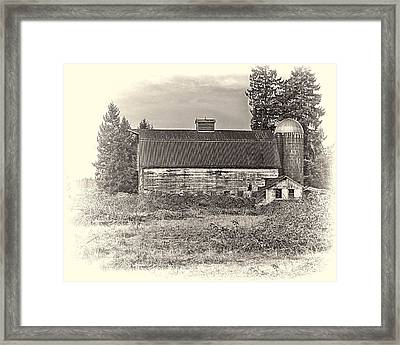Barn With Silo Framed Print by Ron Roberts