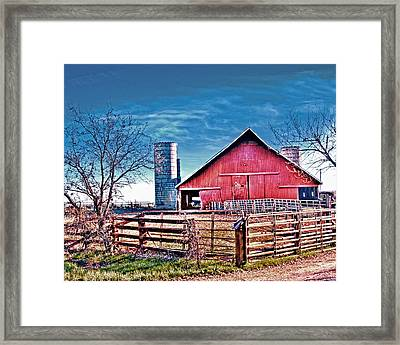 Barn With Silos Framed Print