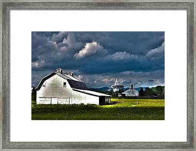 Barns And Radio Telescopes Framed Print