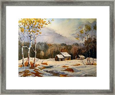 Barns On Canoe Lake Road Framed Print by David Gilmore