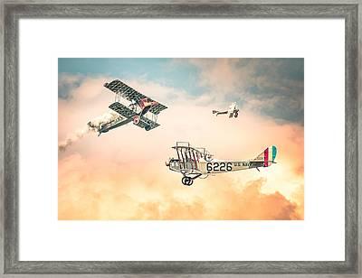 Barnstormers In The Golden Age Of Flight - Fokker D7 - Spad 7 - Curtiss Jenny Jn-4h Framed Print by Gary Heller