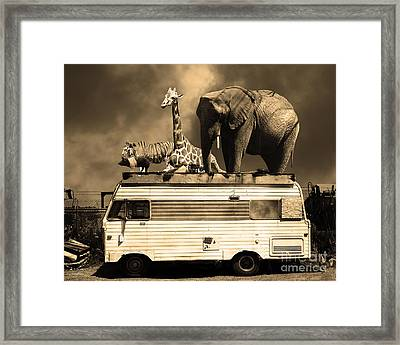 Barnum And Bailey Goes On A Road Trip 5d22705 Sepia Framed Print by Wingsdomain Art and Photography