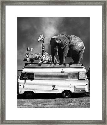 Barnum And Bailey Goes On A Road Trip 5d22705 Vertical Black And White Framed Print by Wingsdomain Art and Photography