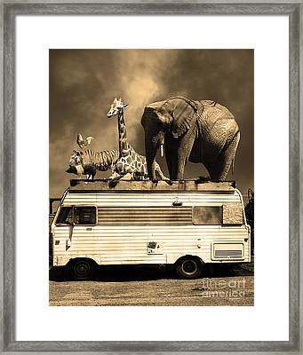 Barnum And Bailey Goes On A Road Trip 5d22705 Vertical Sepia Framed Print by Wingsdomain Art and Photography