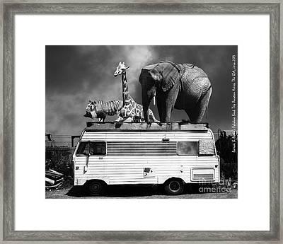 Barnum And Baileys Fabulous Road Trip Vacation Across The Usa Circa 2013 22705 Black White With Text Framed Print by Wingsdomain Art and Photography