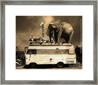 Barnum And Baileys Fabulous Road Trip Vacation Across The Usa Circa 2013 5d22705 Sepia With Text Framed Print by Wingsdomain Art and Photography