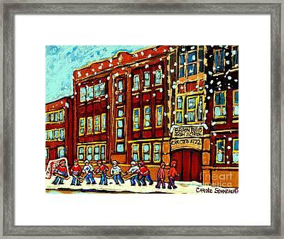 Baron Byng High School St Urbain Street Hockey Montreal Winter Scene Carole Spandau Montreal Artist Framed Print