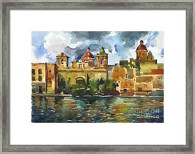 Baroque Domes And Baroque Skies Of Vittoriosa In Malta Framed Print by Anna Lobovikov-Katz