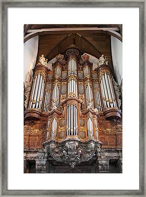 Baroque Grand Organ In Oude Kerk In Amsterdam Framed Print