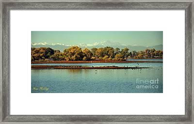 Barr Lake With Longs Peak Framed Print by Reza Mahlouji