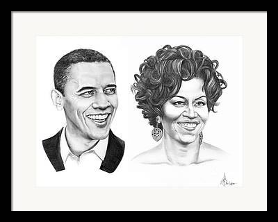 Barrack Obama Drawings Framed Prints