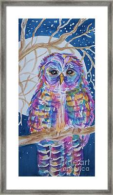 Barred Owl Tie Dyed II Framed Print by Ellen Levinson