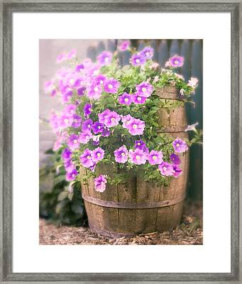 Framed Print featuring the photograph Barrel Of Flowers - Floral Arrangements by Gary Heller