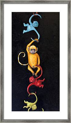 Barrel Of Monkeys Framed Print by Leah Saulnier The Painting Maniac