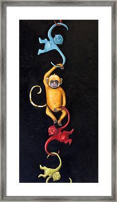 Barrel Of Monkeys Framed Print by Leah Saulnier The Painting Maniac