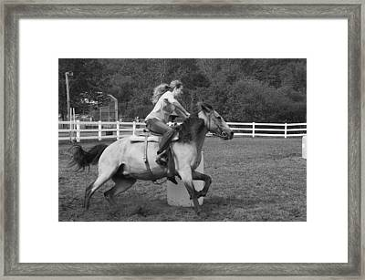 Framed Print featuring the photograph Barrel Racer by Paul Miller