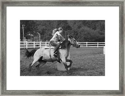 Barrel Racer Framed Print by Paul Miller