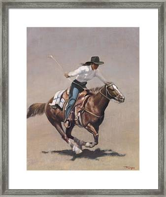 Barrel Racer Salinas Rodeo Framed Print by Terry Guyer