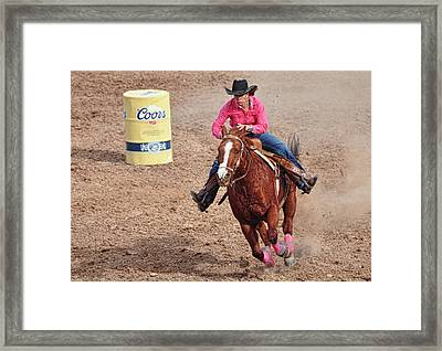 Framed Print featuring the photograph Barrel Rider by Barbara Manis