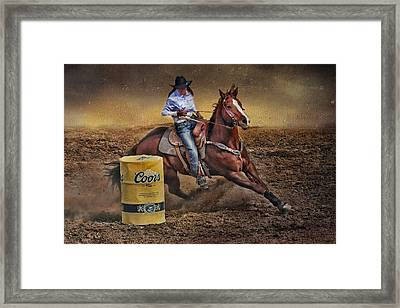 Barrel-rider Cowgirl Framed Print