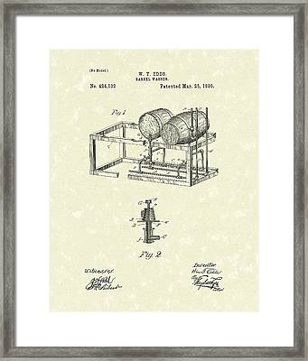 Barrel Warmer 1890 Patent Art Framed Print by Prior Art Design
