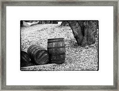 Barrels In The Woods Framed Print by John Rizzuto