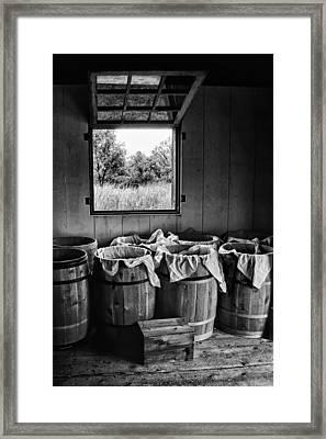 Barrels Of Beans - Bw Framed Print