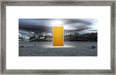Barren Lanscape With Closed Yellow Door Framed Print