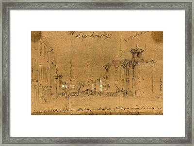 Barricade At The R.r. Depot In Gettysburg, Constructed Framed Print by Quint Lox
