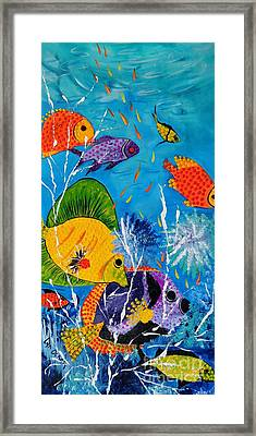 Framed Print featuring the painting Barrier Reef Fish by Lyn Olsen
