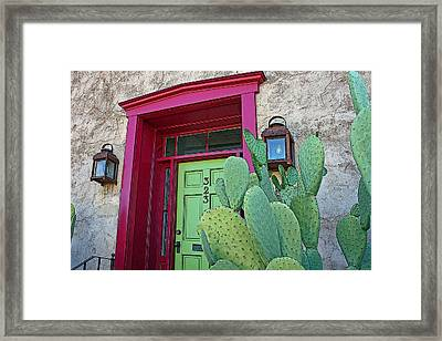 Barrio Red And Green Framed Print
