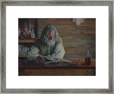 Barroom Reflections Framed Print by Jim Clements