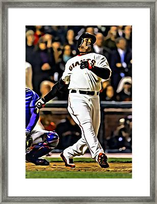 Barry Bonds Canvas Framed Print by Florian Rodarte
