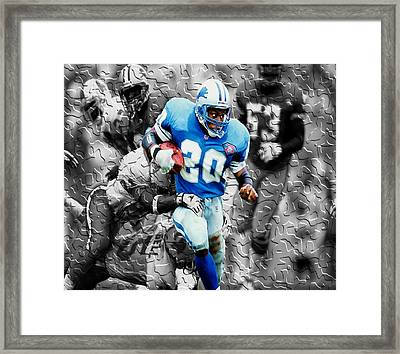 Barry Sanders Breaking Out Framed Print by Brian Reaves