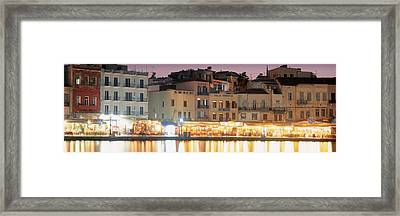 Bars On The Waterfront, Crete, Greece Framed Print
