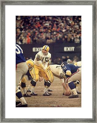 Bart Starr Calls Out The Snap Framed Print