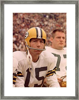 Bart Starr Watches From The Sideline Framed Print