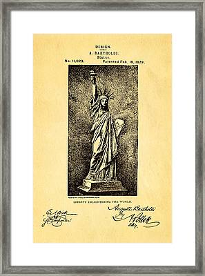 Bartholdi Statue Of Liberty Patent Art 1879 Framed Print by Ian Monk