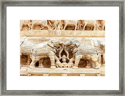 Bas Relief Jagdish Temple Udaipur Framed Print by Tom Norring