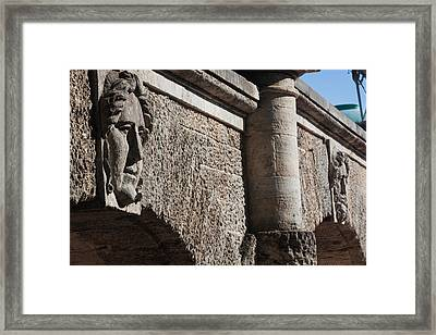 Bas Relief Of Face On The Cameron Framed Print by Panoramic Images