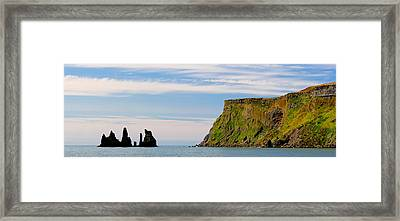 Basalt Rock Formations In The Sea, Vik Framed Print by Panoramic Images