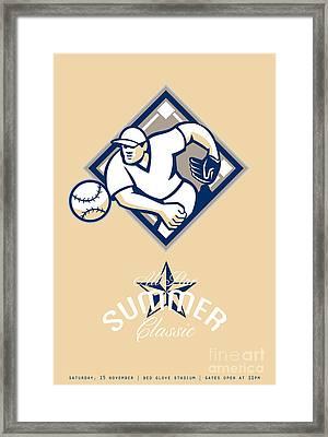 Baseball All Star Summer Classic Retro Poster Framed Print by Aloysius Patrimonio