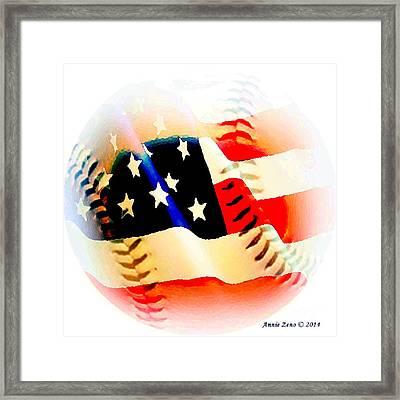 Baseball And American Flag Framed Print by Annie Zeno
