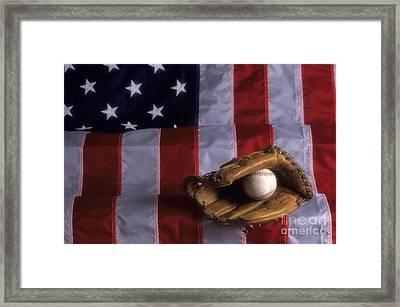 Baseball And American Flag Framed Print