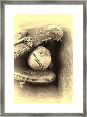 Baseball And Baseball Bat Framed Print by Dan Sproul